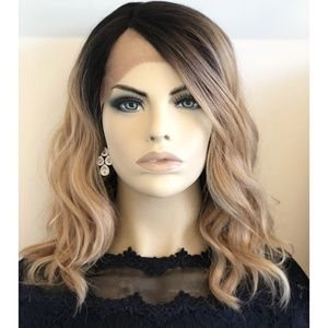 "14"" Mix Blonde With Dark Roots Wavy Wig 